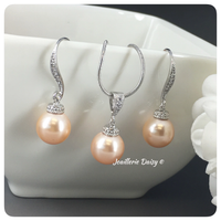 Swarovski Peach Pearl Necklace Set