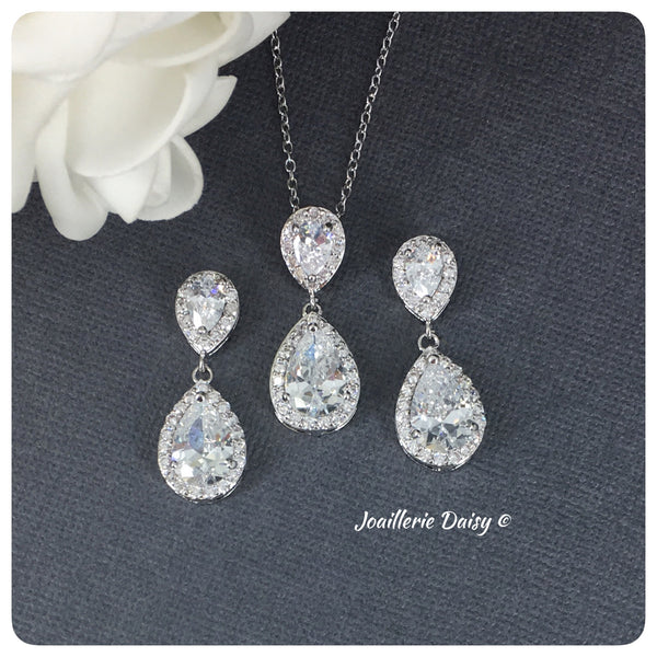 Cubic Zirconia Necklace Set - Teardrop Shaped Bridesmaids Jewelry Set