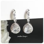 Cubic Zirconia Silver Clip-on Earrings