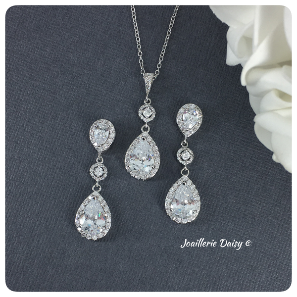 Cubic Zirconia Necklace Set Earrings Set Bridal Jewelry