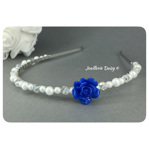 Flower Girl Headband with Swarovski Pearl and Crystal