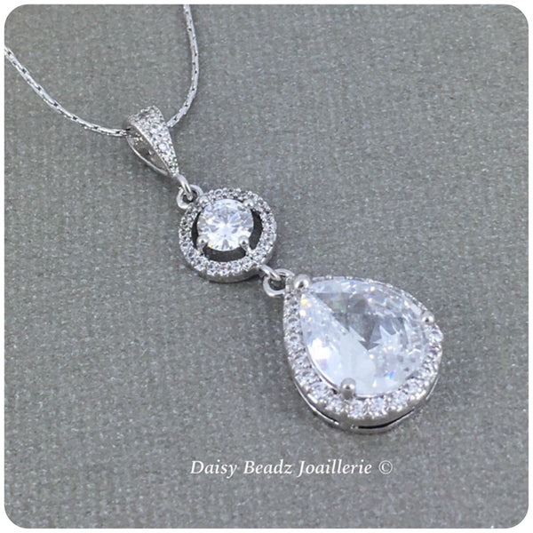 Cubic Zirconia Teardrop Long Pendant Necklace