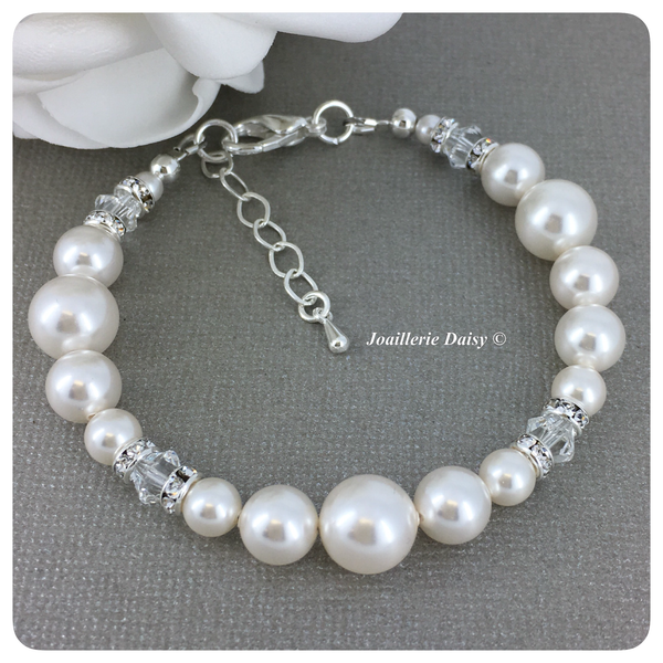 Swarovski Crystal and White Pearl Single Strand Bracelet