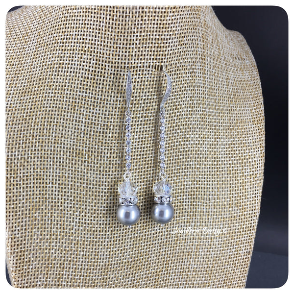 Swarovski Light Grey Pearl and Crystal Long Drop Earrings