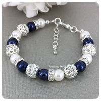 Swarovski Night Blue and White Pearl Single Strand Bracelet