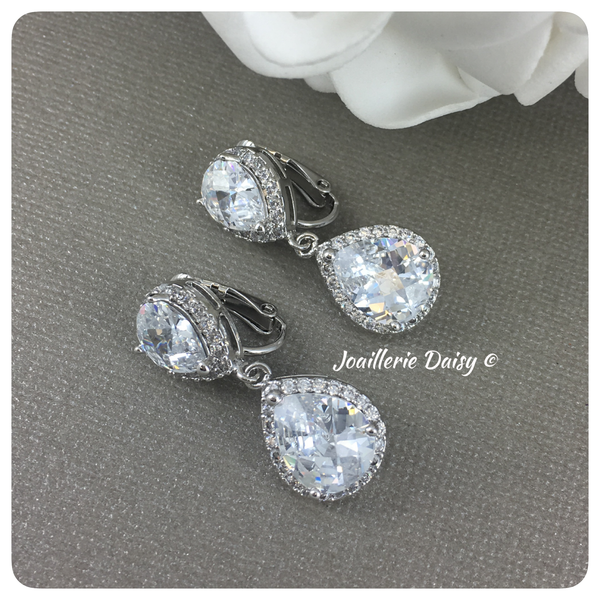 Silver Cubic Zirconia Clip-on Earrings
