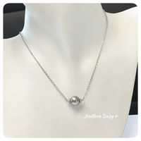 Swarovski Gray Single Pearl Bridesmaid or Flower Girl Pendant Necklace