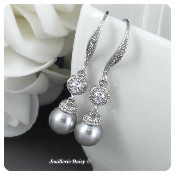 Swarovski Light Gray Pearl with Round CZ Dangle Earrings