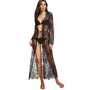 SHEIN Black Sheer Floral Lace Maxi Kimono Woman's Fashion Summer 2017 Sexy Tops Long Sleeve Belted Long Kimono