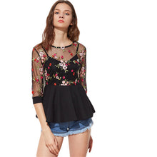 Sexy Blouse Black Three Quarter Length Sleeve Flower Embroidered Mesh Overlay