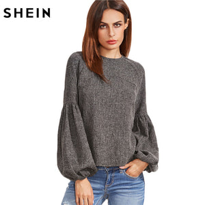 Tops and Blouses  Shirt  Tops Grey Keyhole Back Lantern Sleeve Top Long Sleeve Blouse