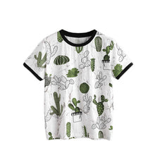Casual Crew Neck Short Sleeve Cactus and Marble Print Top