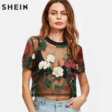 SHEIN Flower Embroidered Mesh Crop Top Womens Blouses Summer Ladies 2017 Short Sleeve Sexy Women's Blouses Tops