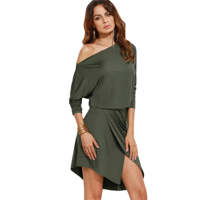 SHEIN Army Green Women Autumn Party Dresses Long Sleeve Ladies Sexy Club Dress 2016 Off Shoulder Asymmetric Overlap Dress