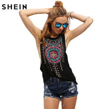 SHEIN New Summer Style Black Women Sexy Tops Round Neck Sleeveless Vintage Tribal Print Fitness Casual Tank Tops