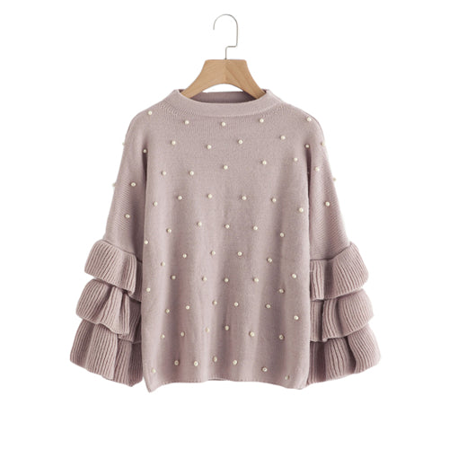 Pearl Beaded Layered Ruffle Sleeve Loose Pink Crew Neck Long Sleeve Cute Sweaters and Pullovers