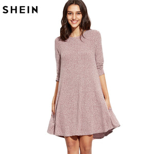Burgundy Round Neck Three Quarter Length Sleeve Knit Ribbed Swing Casual Shift Dress