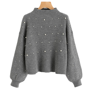 SHEIN Pearl Beaded Rib Knit Jumper Autumn Winter Womens Pullover Sweaters Grey Stand Collar Long Sleeve Tight Sweater