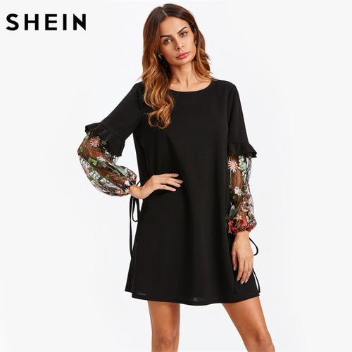 Contrast Embroidery Mesh Tied Sleeve Frill Detail  Black Long Sleeve Straight Fall Dress