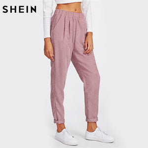SHEIN Pink Faux Flap Pocket Back Cord Peg Pants Mid Waist Fall Womens Casual Pants Elastic Waist Loose Trousers
