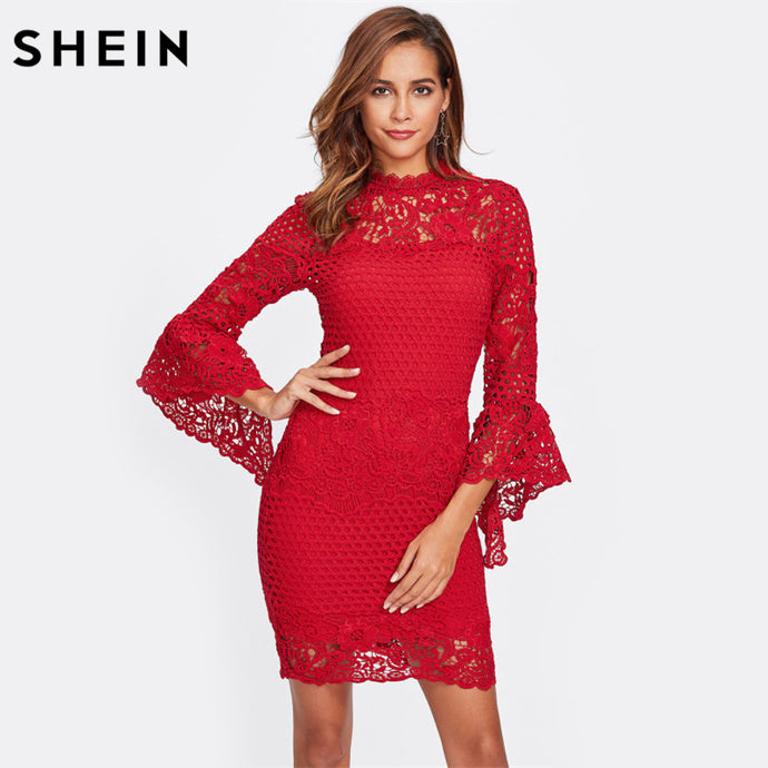 Flare Sleeve Lace 2 In 1 Red Three Quarter Length Sleeve Elegant Dress
