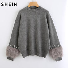 SHEIN Rhinestone Ans Faux Fur Embellished Cuff Jumper Grey Crew Neck Casual Pullovers Autumn Elegant Long Sleeve Sweater