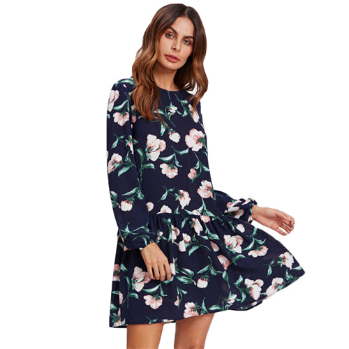 SHEIN Allover Flower Print Drop Waist Dress Ladies Navy Long Sleeve Autumn Womens Dresses Elegant Floral A Line Dress