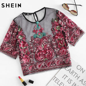 SHEIN Boho Womens Tops and Blouses Flower Embroidery Sheer Mesh Slim Crop Top Multicolor Short Sleeve Sexy Blouse