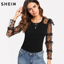 SHEIN Black Slim T shirt Women Long Sleeve Elegant Womens Clothing Contrast Frilled Dot Mesh Sleeve Ribbed Knit Tee