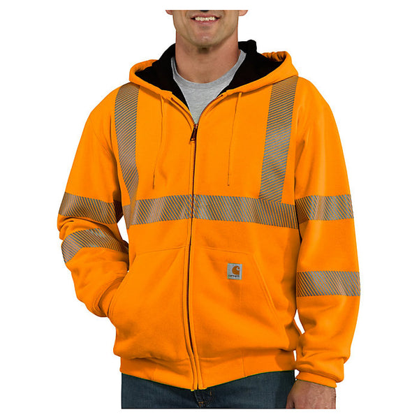 Carhartt® Class 3 High-Visibility Zip-Front Thermal-Lined Sweatshirt, Brite Orange [100504-824]
