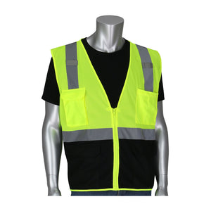 PIP® ANSI Type R Class 2 Five Pocket Value Mesh Vest with Black Bottom Front