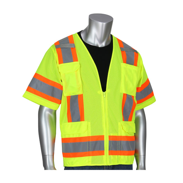 PIP® ANSI Type R Class 3 Two-Tone Eleven Pocket Mesh Surveyors Vest [303-0500M-LY/OR]