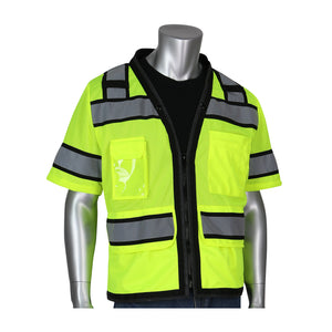 "PIP® ANSI Type R Class 3 Black Two-Tone Eleven Pocket Tech-Ready Mesh Surveyors Vest with ""D"" Ring Access"
