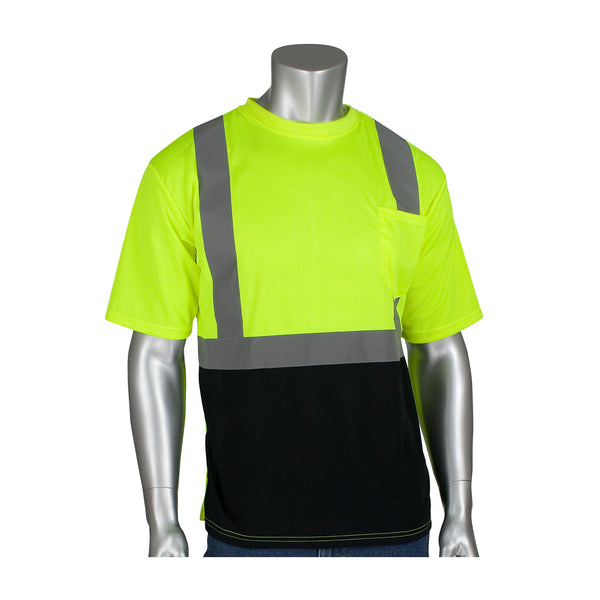 PIP® ANSI Type R Class 2 Short Sleeve T-Shirt with 50+ UPF Sun Protection and Black Bottom Front, Hi-Vis Yellow [312-1250B]