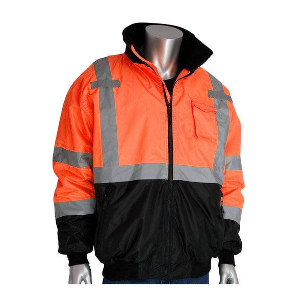 PIP® ANSI Type R Class 3 Black Bottom Bomber Jacket with Zip-Out Fleece Liner, Hi-Vis Orange [333-1766/OR]