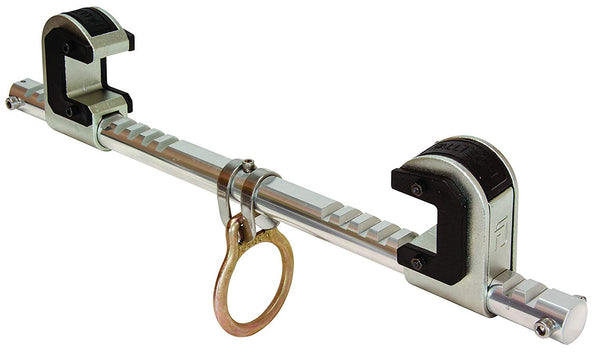 "FallTech 7530 Steel, Trailing Beam Clamp Steel - Dual Ratcheting for Centering on I-beam, Machined Aluminum Bar, Steel Jaws w/Slider Pads, 4"" to 14"" [7530]"
