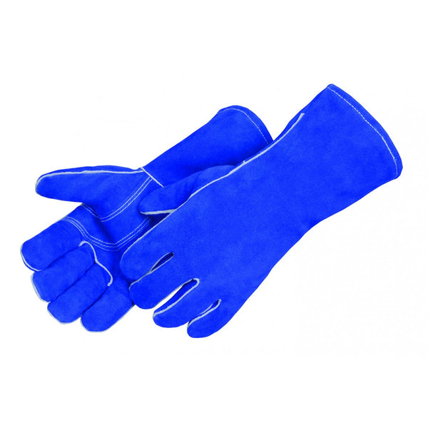 Blue Leather Welder (Reinforced Thumb & Palm) Gloves [7344]