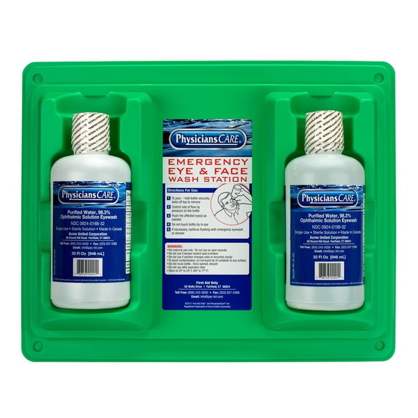 Emergency Eye & Face Wash Stations, Two 32 oz. Screw Cap Bottle [24-300-001]