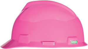MSA V-Gard® Slotted Cap w/Staz-On Suspension Hot pink hard hat pink