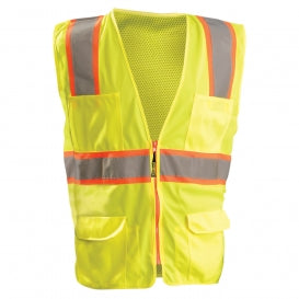 Occunomix® High Visibility Classic Mesh Two-Tone Surveyor Safety Vest [LUX-ATRNSM]
