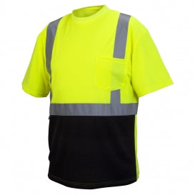 Pyramex® RTS21B Series Class 2 T-Shirts With Black Bottom, Hi-Vis Lime [RTS2110B]