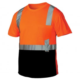 Pyramex® RTS21B Series Class 2 T-Shirts With Black Bottom, Hi-Vis Orange [RTS2120B]