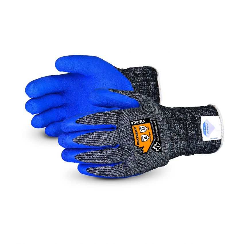 Superior Glove® Dexterity® Blue Crickled-Latex Grip Winter Gloves