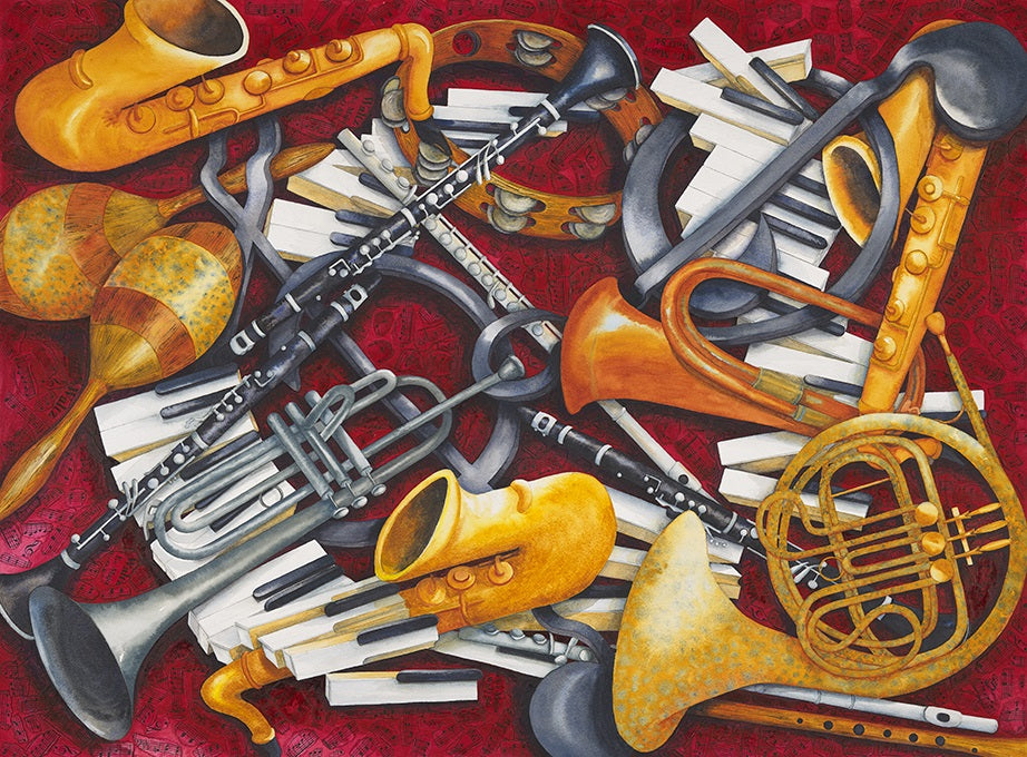 Musical Instruments Watercolour: