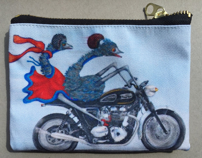 Motorcycle Riding Emus Pencil Case/Zipper Pouch: