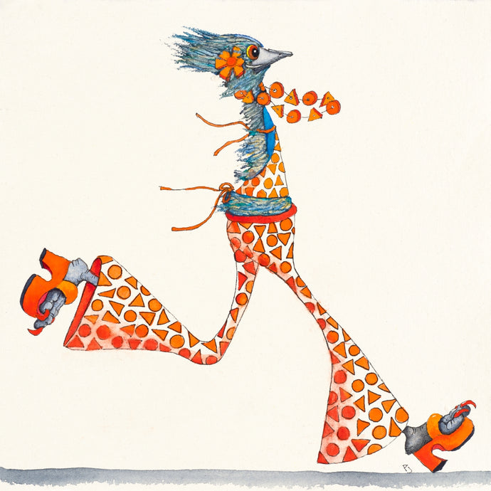 A watercolour painting of a rushing emu dressed in a well colour co-ordinated orange funky outfit.