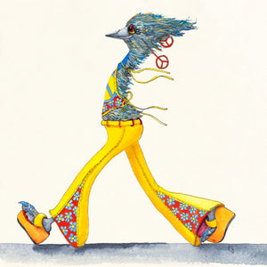 This is a fun watercolour painting of a colourfully dressed emu wearing large, peace earrings and flowered bell-bottom yellow jeans walking confidently.