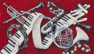 "Musical Instruments Watercolour - ""Black & White + One"""