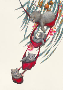 Bunk bed Trio - prints of wombats enjoying their hammocks