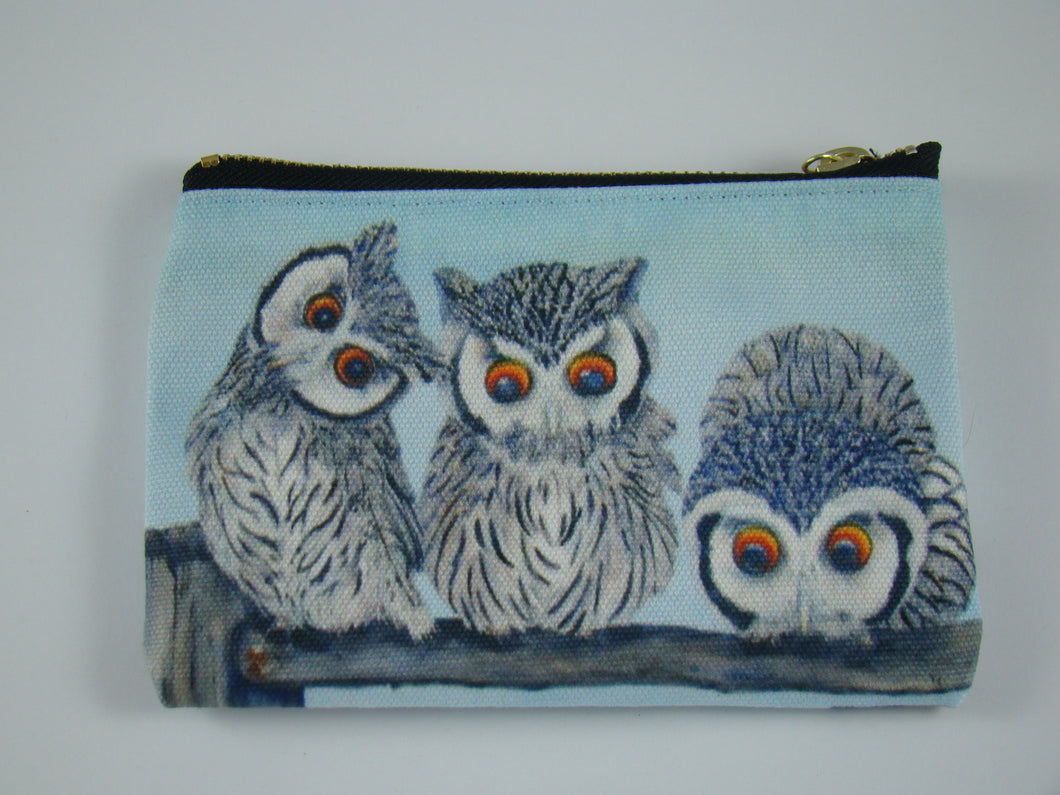Pencil Case/zipper Pouch:  White Faced Scops Owls